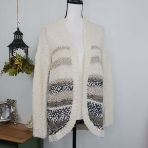 Hollister Open Front Striped Soft Cardigan Sweater